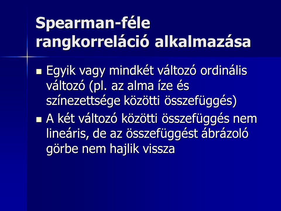 Spearman-féle rangkorreláció alkalmazása Egyik vagy mindkét változó ordinális változó (pl. az alma íze és színezettsége közötti összefüggés) Egyik vag
