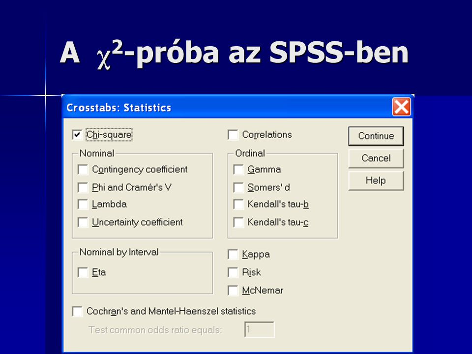 A χ 2 -próba az SPSS-ben