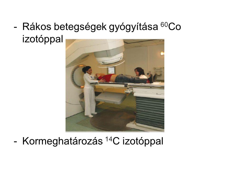 -Rákos betegségek gyógyítása 60 Co izotóppal -Kormeghatározás 14 C izotóppal