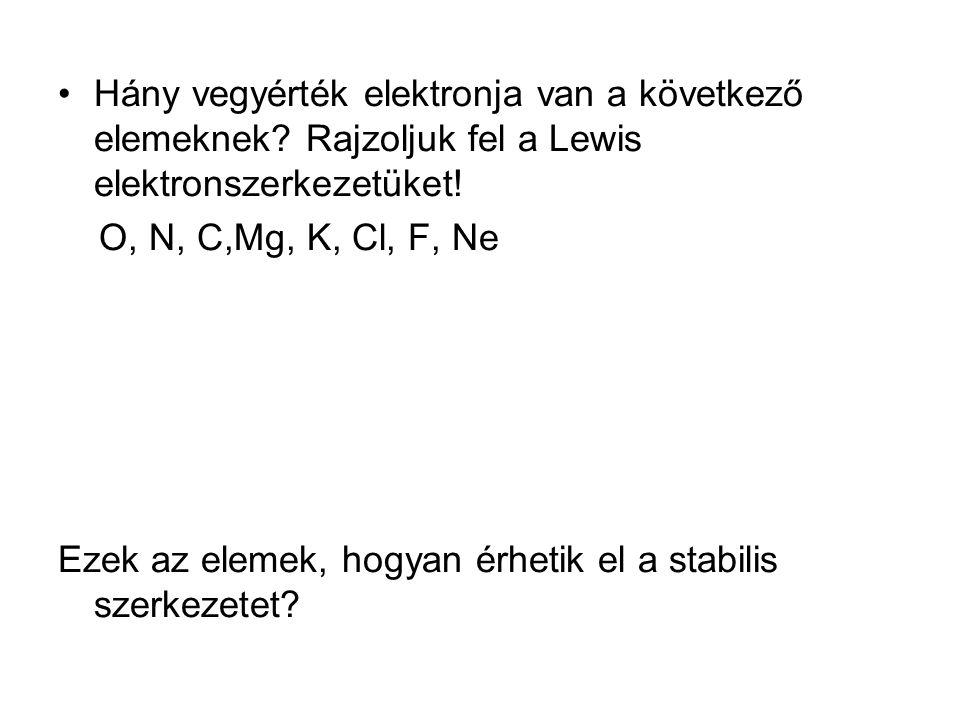 Hány vegyérték elektronja van a következő elemeknek? Rajzoljuk fel a Lewis elektronszerkezetüket! O, N, C,Mg, K, Cl, F, Ne Ezek az elemek, hogyan érhe