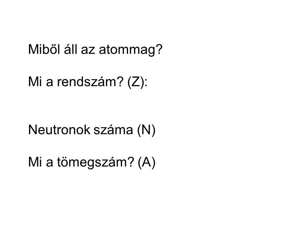 Miből áll az atommag? Mi a rendszám? (Z): Neutronok száma (N) Mi a tömegszám? (A)