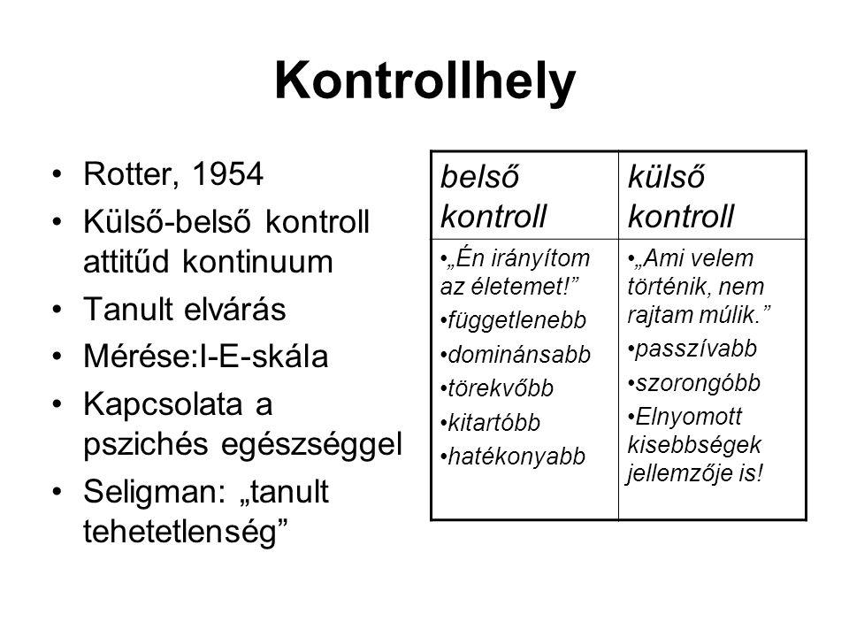"""Kontrollhely Rotter, 1954 Külső-belső kontroll attitűd kontinuum Tanult elvárás Mérése:I-E-skála Kapcsolata a pszichés egészséggel Seligman: """"tanult t"""