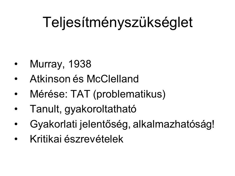 Teljesítményszükséglet Murray, 1938 Atkinson és McClelland Mérése: TAT (problematikus) Tanult, gyakoroltatható Gyakorlati jelentőség, alkalmazhatóság.