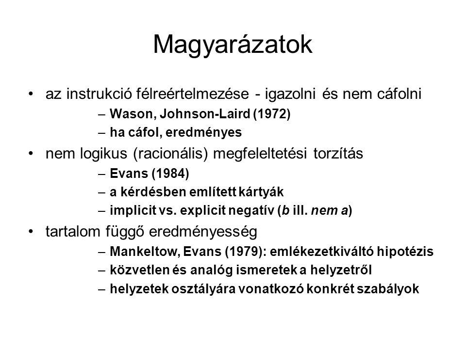 Magyarázatok az instrukció félreértelmezése - igazolni és nem cáfolni –Wason, Johnson-Laird (1972) –ha cáfol, eredményes nem logikus (racionális) megf