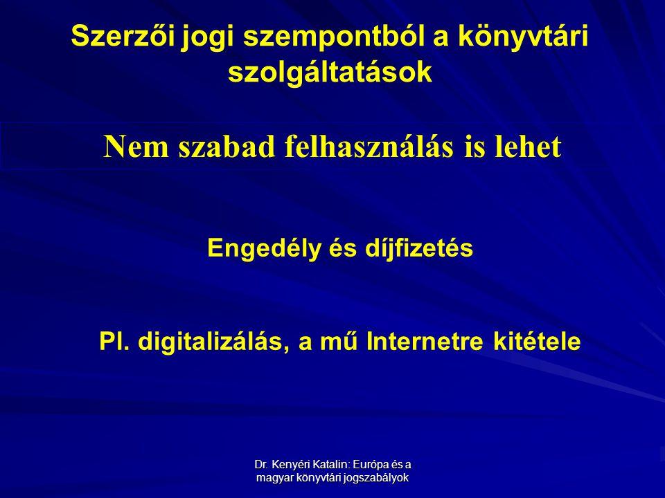 Dr. Kenyéri Katalin: Európa és a magyar könyvtári jogszabályok Szerzői jogi szempontból a könyvtári szolgáltatások Nem szabad felhasználás is lehet En