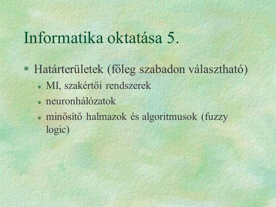 Informatika oktatása 5.