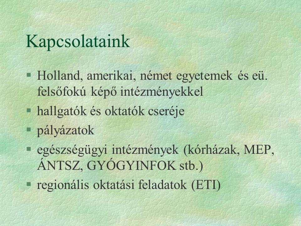 Kapcsolataink §Holland, amerikai, német egyetemek és eü.