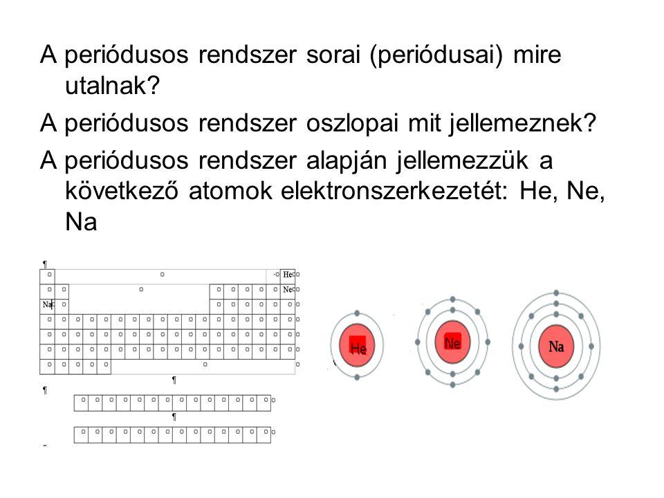 A periódusos rendszer sorai (periódusai) mire utalnak? A periódusos rendszer oszlopai mit jellemeznek? A periódusos rendszer alapján jellemezzük a köv