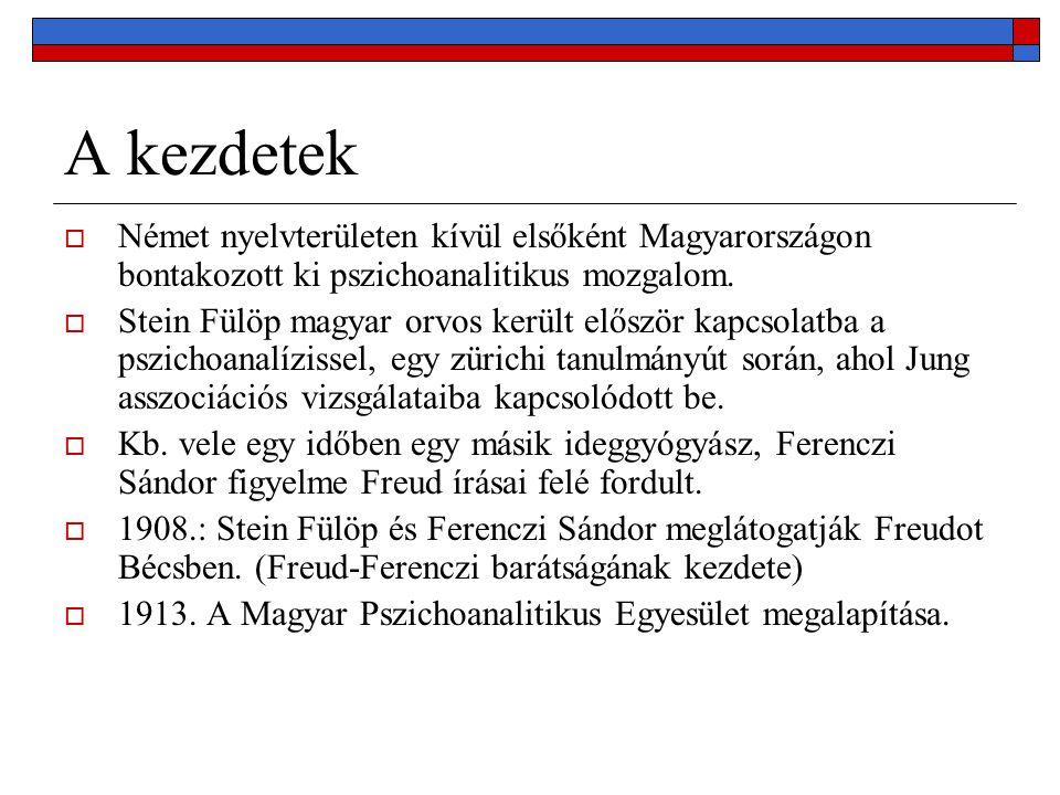 A kezdetek  Német nyelvterületen kívül elsőként Magyarországon bontakozott ki pszichoanalitikus mozgalom.  Stein Fülöp magyar orvos került először k