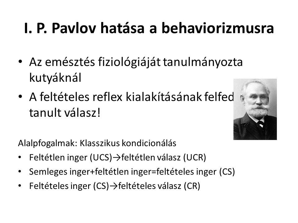 I. P. Pavlov hatása a behaviorizmusra Az emésztés fiziológiáját tanulmányozta kutyáknál A feltételes reflex kialakításának felfedezése: tanult válasz!