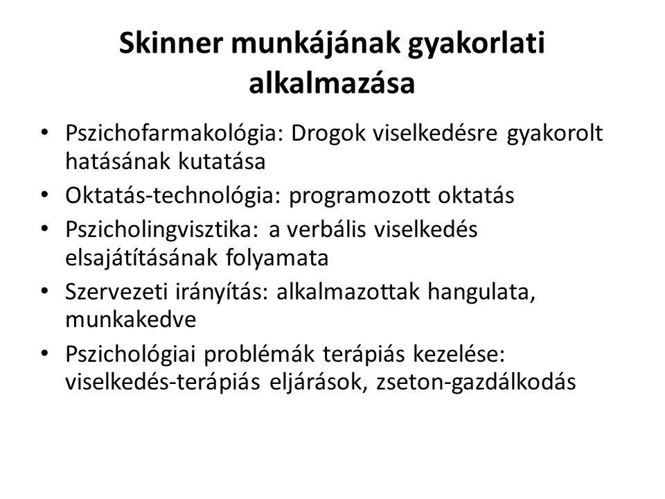 Skinner munkájának gyakorlati alkalmazása Pszichofarmakológia: Drogok viselkedésre gyakorolt hatásának kutatása Oktatás-technológia: programozott okta