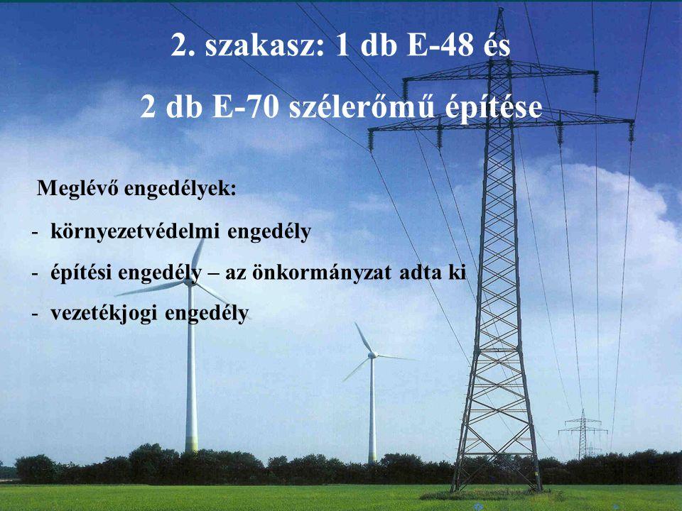 2. szakasz: 1 db E-48 és 2 db E-70 szélerőmű építése - környezetvédelmi engedély - építési engedély – az önkormányzat adta ki - vezetékjogi engedély M