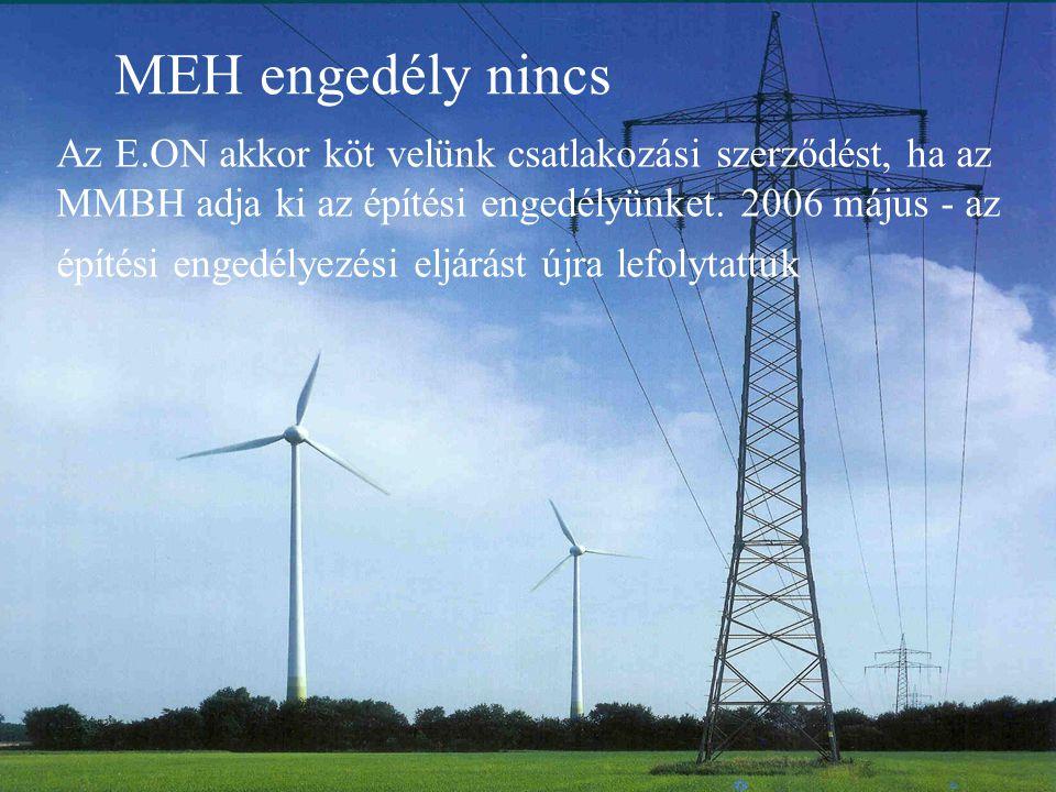 MEH engedély nincs Az E.ON akkor köt velünk csatlakozási szerződést, ha az MMBH adja ki az építési engedélyünket. 2006 május - az építési engedélyezés