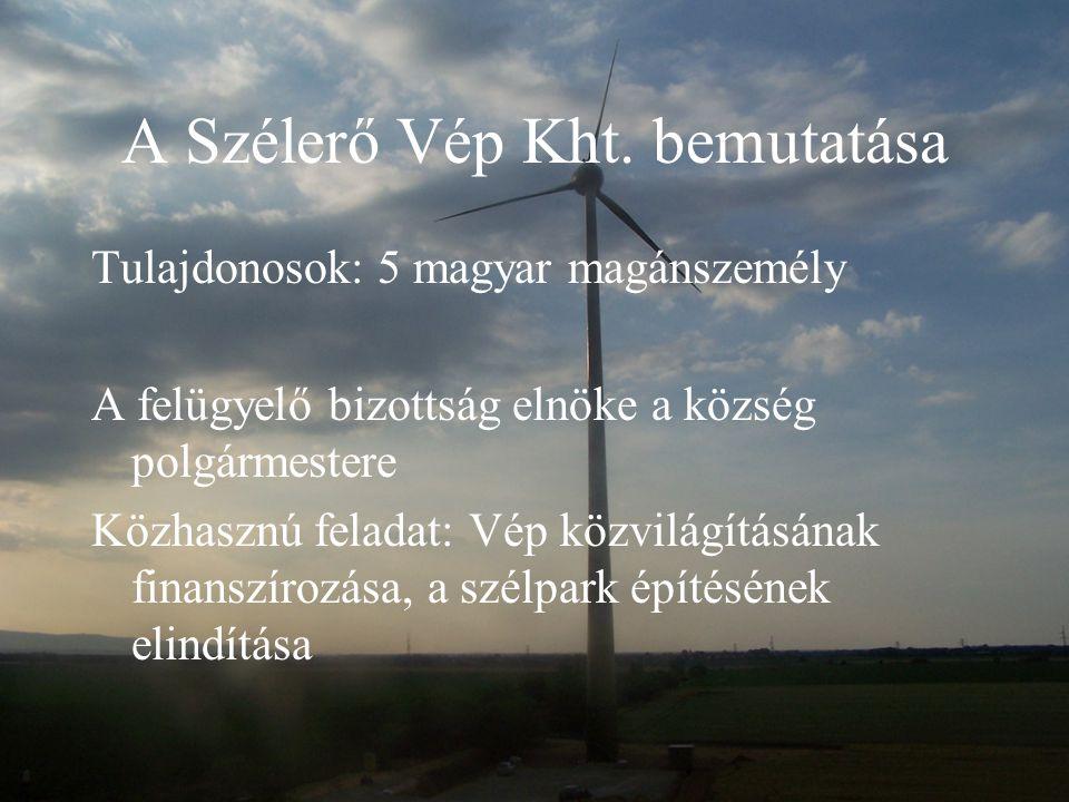 A Szélerő Vép Kht. bemutatása Tulajdonosok: 5 magyar magánszemély A felügyelő bizottság elnöke a község polgármestere Közhasznú feladat: Vép közvilágí