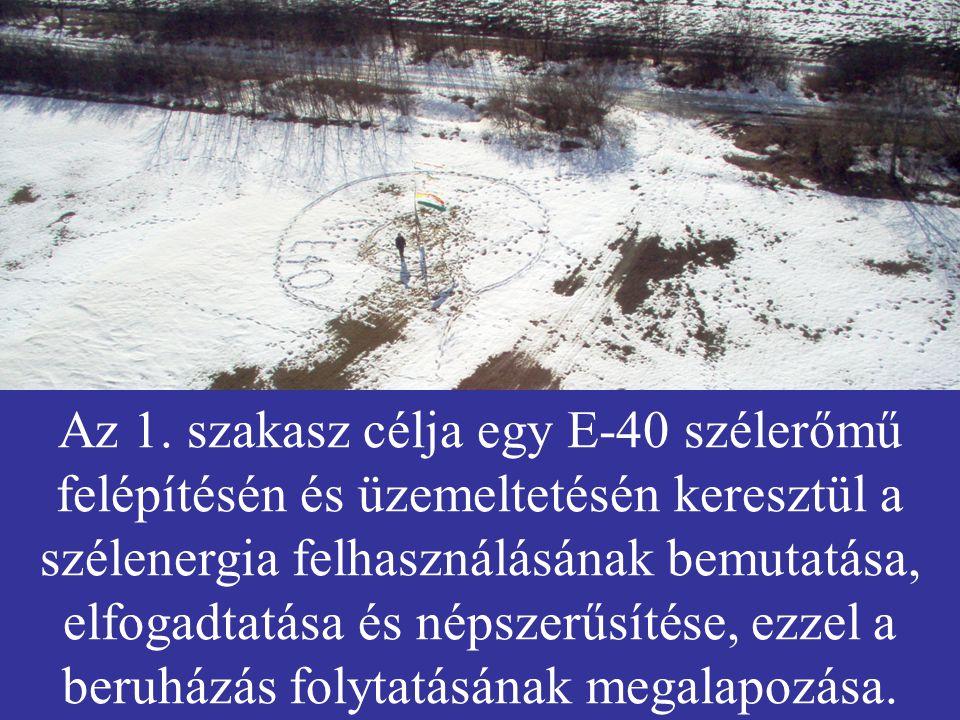 Az 1. szakasz célja egy E-40 szélerőmű felépítésén és üzemeltetésén keresztül a szélenergia felhasználásának bemutatása, elfogadtatása és népszerűsíté