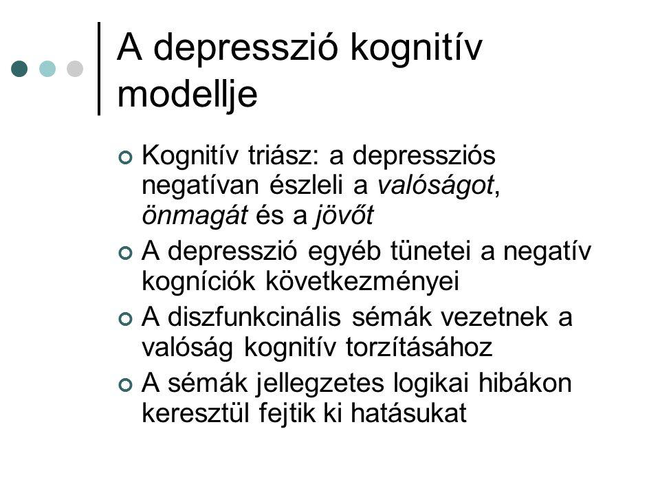 A depresszió kognitív modellje Kognitív triász: a depressziós negatívan észleli a valóságot, önmagát és a jövőt A depresszió egyéb tünetei a negatív kogníciók következményei A diszfunkcinális sémák vezetnek a valóság kognitív torzításához A sémák jellegzetes logikai hibákon keresztül fejtik ki hatásukat
