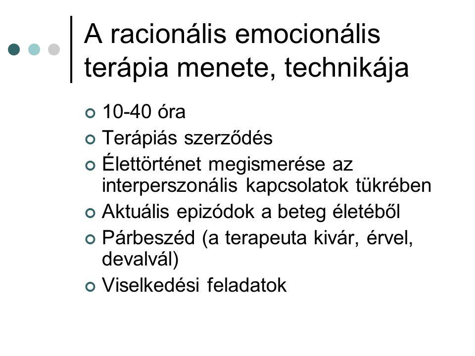 A racionális emocionális terápia menete, technikája 10-40 óra Terápiás szerződés Élettörténet megismerése az interperszonális kapcsolatok tükrében Aktuális epizódok a beteg életéből Párbeszéd (a terapeuta kivár, érvel, devalvál) Viselkedési feladatok
