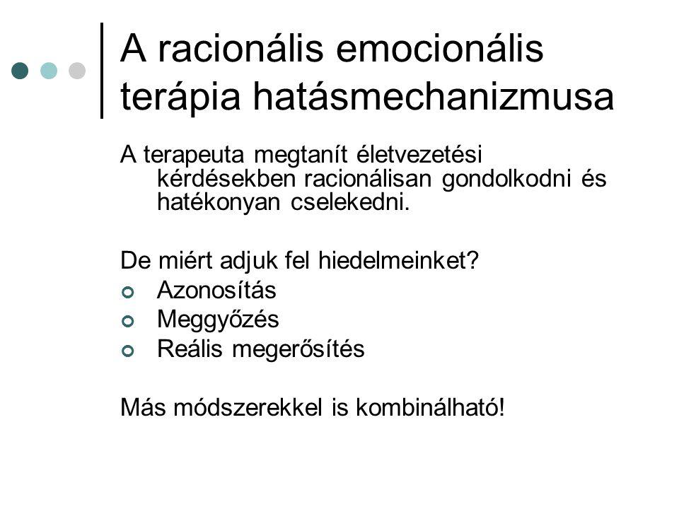 A racionális emocionális terápia hatásmechanizmusa A terapeuta megtanít életvezetési kérdésekben racionálisan gondolkodni és hatékonyan cselekedni.