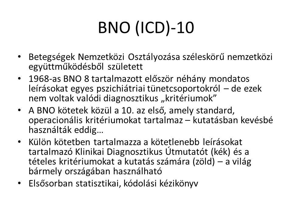 DSM Diagnostic and Statistical Manual of Mental Disorders A DSM a nemzetközi osztályozással elégedetlen amerikai pszichiátriában született meg, 1952-ben DSM-I ~ BNO-6; DSM-II ~ BNO-8 A DSM-III (1980) újításai: A diagnózisok tételes explicit és operacionális kritériumokra épülnek Deszkriptív, ateoretikus klinikai kategóriák Széleskörű szakértői konszenzusra támaszkodott (APA) Multiaxiális, több szempontú diagnosztika Szakít a nem egyértelmű kategóriákkal (pl.