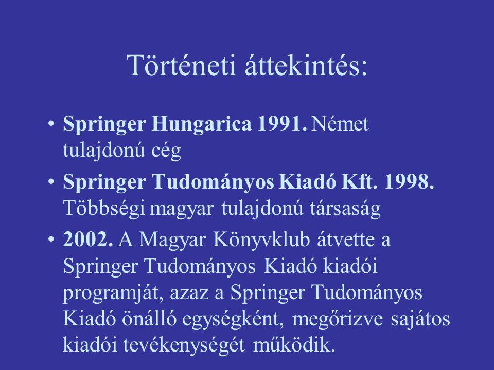 Történeti áttekintés: Springer Hungarica 1991. Német tulajdonú cég Springer Tudományos Kiadó Kft. 1998. Többségi magyar tulajdonú társaság 2002. A Mag