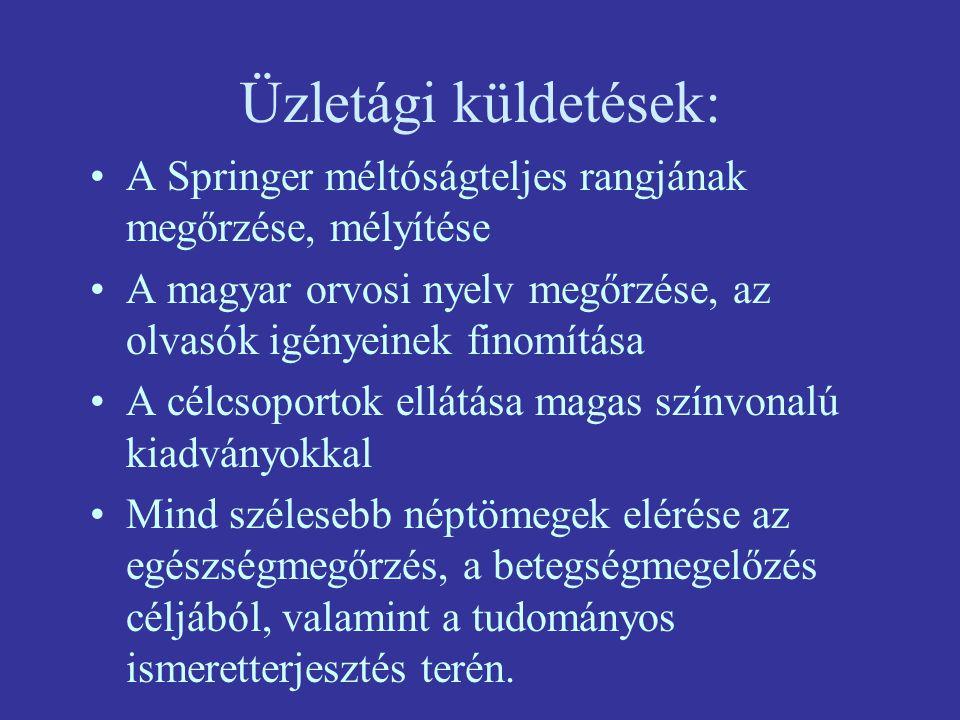Üzletági küldetések: A Springer méltóságteljes rangjának megőrzése, mélyítése A magyar orvosi nyelv megőrzése, az olvasók igényeinek finomítása A célcsoportok ellátása magas színvonalú kiadványokkal Mind szélesebb néptömegek elérése az egészségmegőrzés, a betegségmegelőzés céljából, valamint a tudományos ismeretterjesztés terén.
