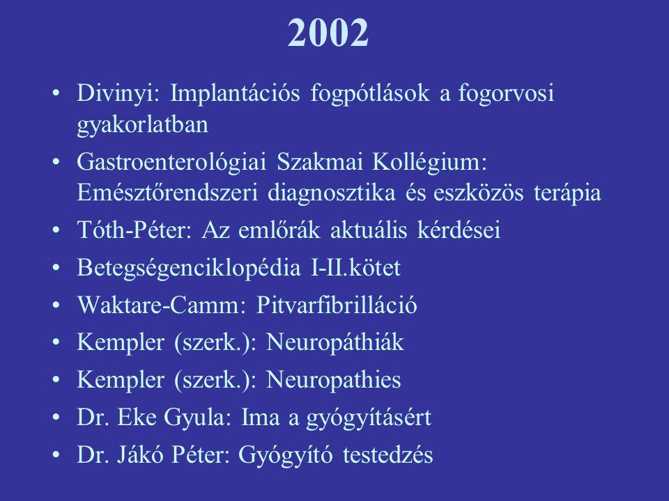 2002 Divinyi: Implantációs fogpótlások a fogorvosi gyakorlatban Gastroenterológiai Szakmai Kollégium: Emésztőrendszeri diagnosztika és eszközös terápia Tóth-Péter: Az emlőrák aktuális kérdései Betegségenciklopédia I-II.kötet Waktare-Camm: Pitvarfibrilláció Kempler (szerk.): Neuropáthiák Kempler (szerk.): Neuropathies Dr.