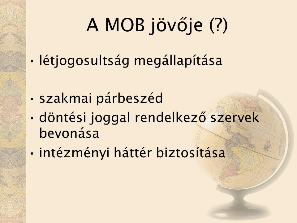 A MOB jövője ( ) létjogosultság megállapítása szakmai párbeszéd döntési joggal rendelkező szervek bevonása intézményi háttér biztosítása