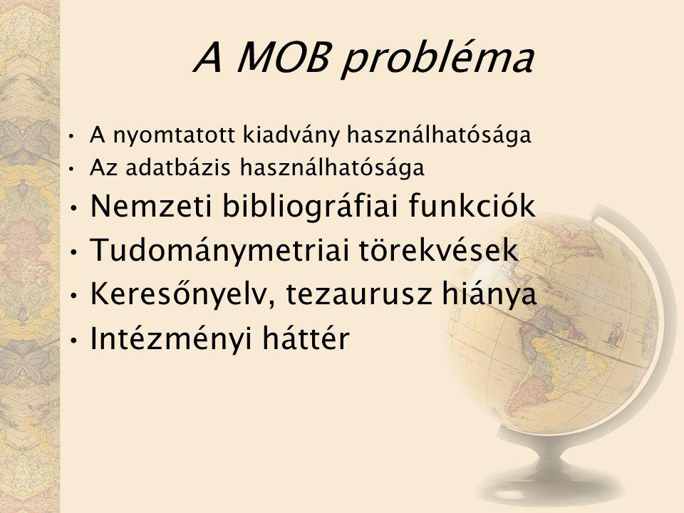 A MOB probléma A nyomtatott kiadvány használhatósága Az adatbázis használhatósága Nemzeti bibliográfiai funkciók Tudománymetriai törekvések Keresőnyelv, tezaurusz hiánya Intézményi háttér