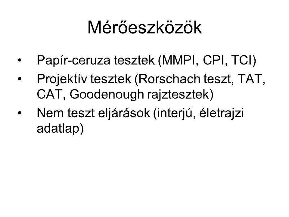 Mérőeszközök Papír-ceruza tesztek (MMPI, CPI, TCI) Projektív tesztek (Rorschach teszt, TAT, CAT, Goodenough rajztesztek) Nem teszt eljárások (interjú, életrajzi adatlap)