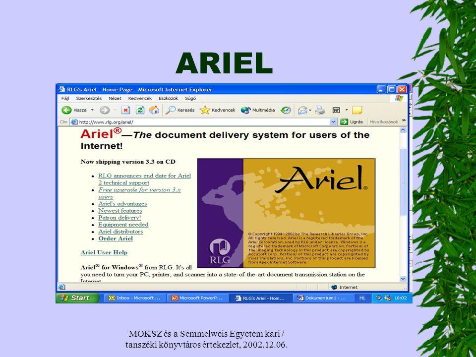MOKSZ és a Semmelweis Egyetem kari / tanszéki könyvtáros értekezlet, 2002.12.06. ARIEL