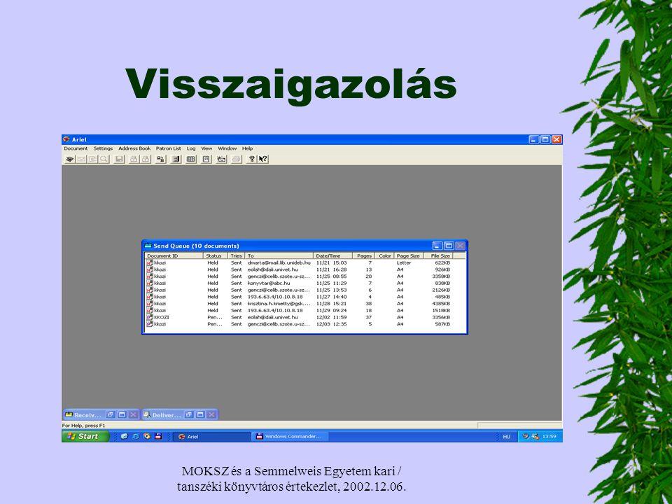 MOKSZ és a Semmelweis Egyetem kari / tanszéki könyvtáros értekezlet, 2002.12.06. Visszaigazolás