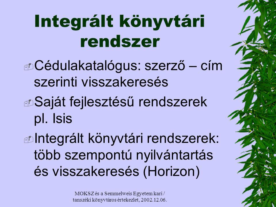 MOKSZ és a Semmelweis Egyetem kari / tanszéki könyvtáros értekezlet, 2002.12.06.