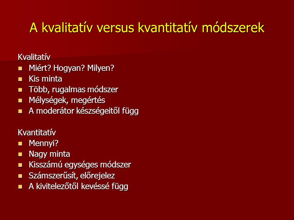 A kvalitatív versus kvantitatív módszerek Kvalitatív Miért? Hogyan? Milyen? Miért? Hogyan? Milyen? Kis minta Kis minta Több, rugalmas módszer Több, ru