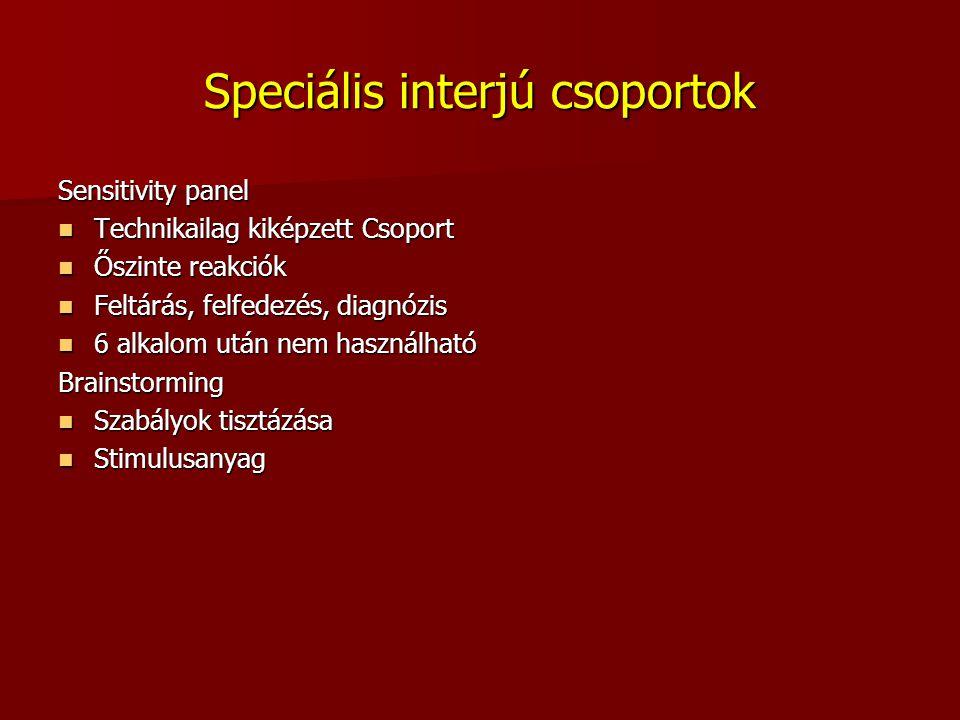 Speciális interjú csoportok Sensitivity panel Technikailag kiképzett Csoport Technikailag kiképzett Csoport Őszinte reakciók Őszinte reakciók Feltárás