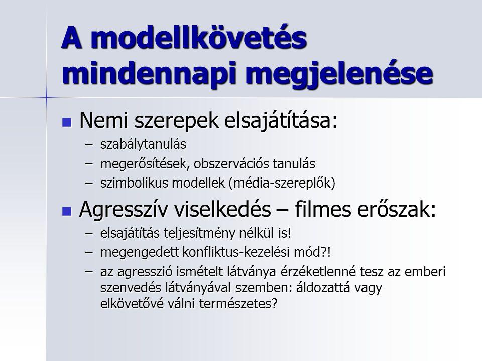 A modellkövetés mindennapi megjelenése Nemi szerepek elsajátítása: Nemi szerepek elsajátítása: –szabálytanulás –megerősítések, obszervációs tanulás –s