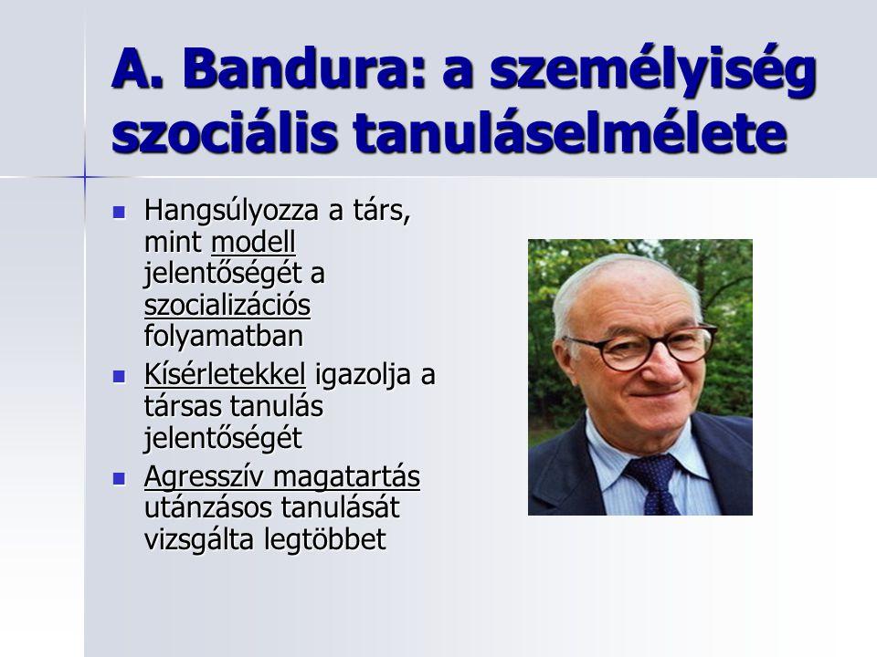 A. Bandura: a személyiség szociális tanuláselmélete Hangsúlyozza a társ, mint modell jelentőségét a szocializációs folyamatban Hangsúlyozza a társ, mi