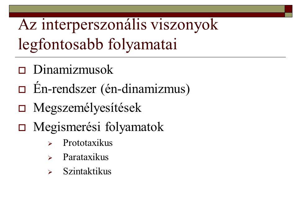 Az interperszonális viszonyok legfontosabb folyamatai  Dinamizmusok  Én-rendszer (én-dinamizmus)  Megszemélyesítések  Megismerési folyamatok  Pro