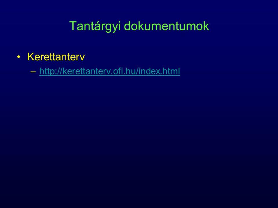 Tantárgyi dokumentumok Érettségi követelmények –http://www.oh.gov.hu/kapcsolodo_jogszabalyhttp://www.oh.gov.hu/kapcsolodo_jogszabaly