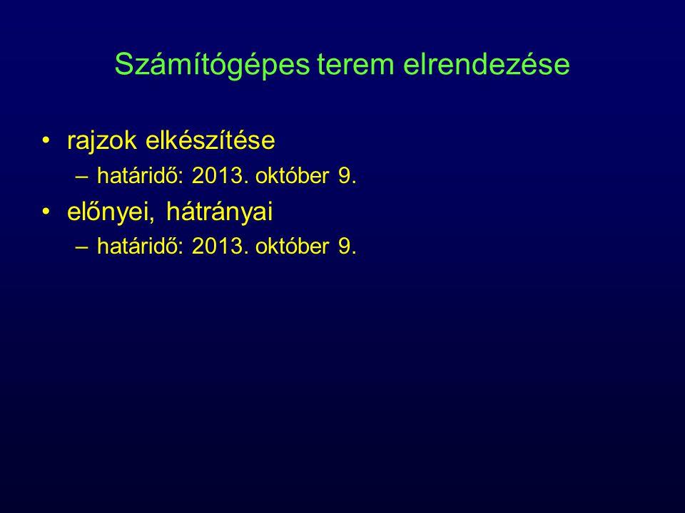 Számítógépes terem elrendezése rajzok elkészítése –határidő: 2013. október 9. előnyei, hátrányai –határidő: 2013. október 9.