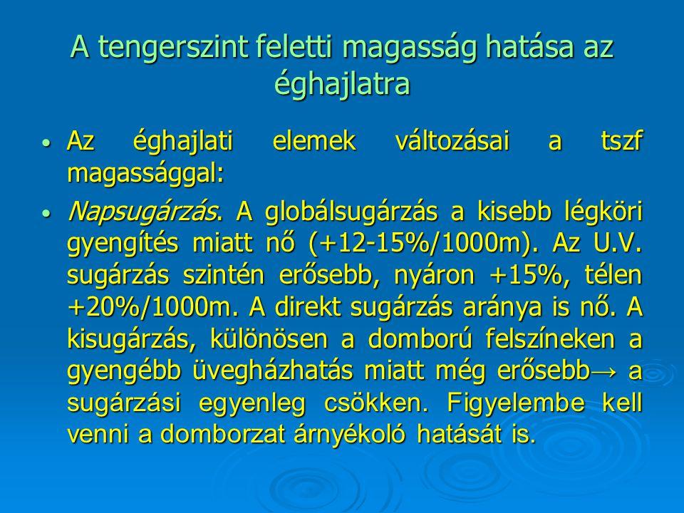 A tengerszint feletti magasság hatása az éghajlatra Az éghajlati elemek változásai a tszf magassággal: Az éghajlati elemek változásai a tszf magasságg