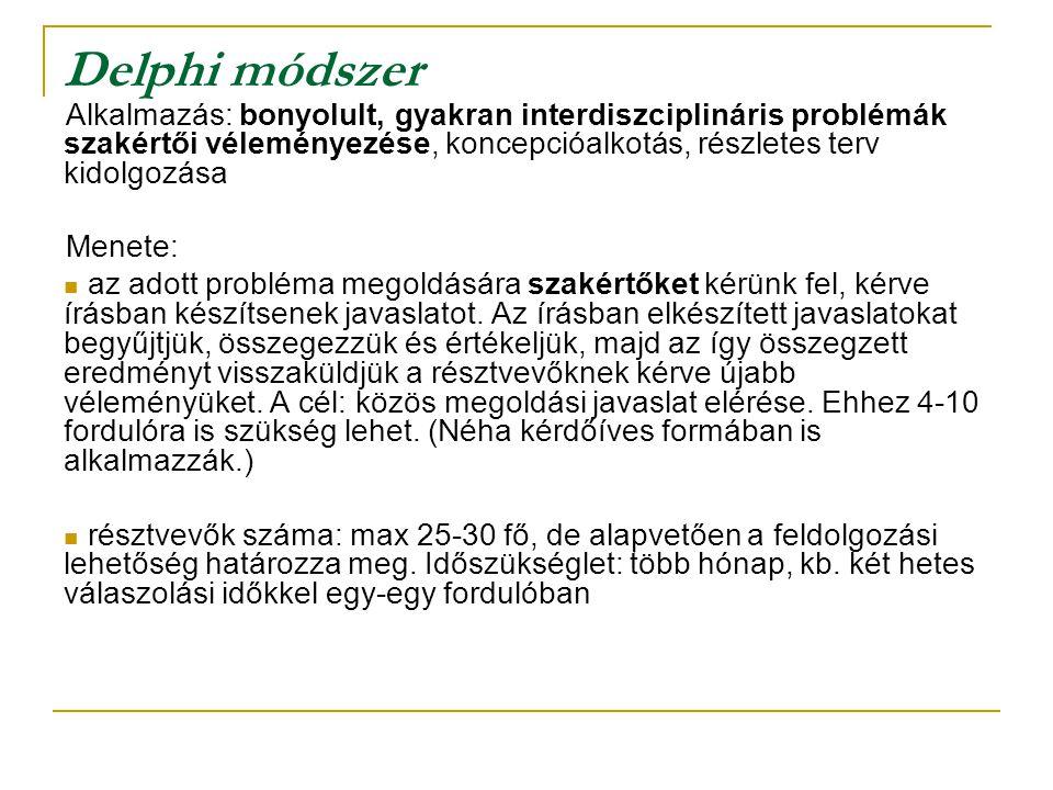 Delphi módszer Alkalmazás: bonyolult, gyakran interdiszciplináris problémák szakértői véleményezése, koncepcióalkotás, részletes terv kidolgozása Mene