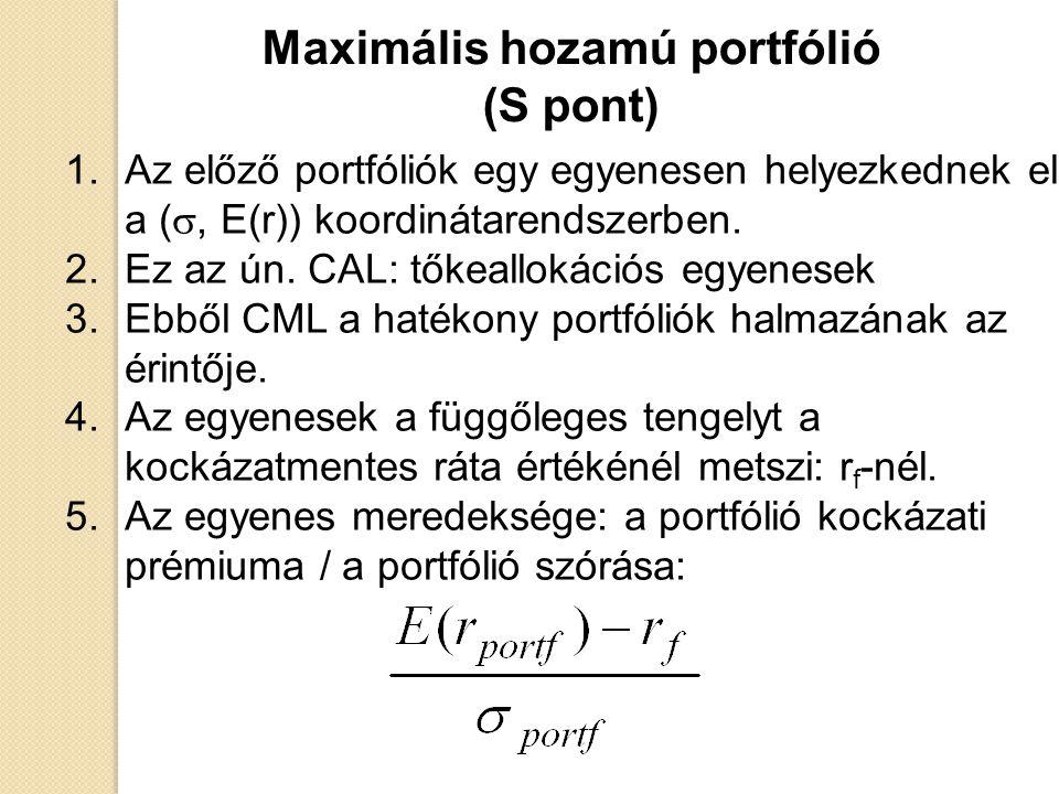 1.Az előző portfóliók egy egyenesen helyezkednek el a ( , E(r)) koordinátarendszerben. 2.Ez az ún. CAL: tőkeallokációs egyenesek 3.Ebből CML a hatéko
