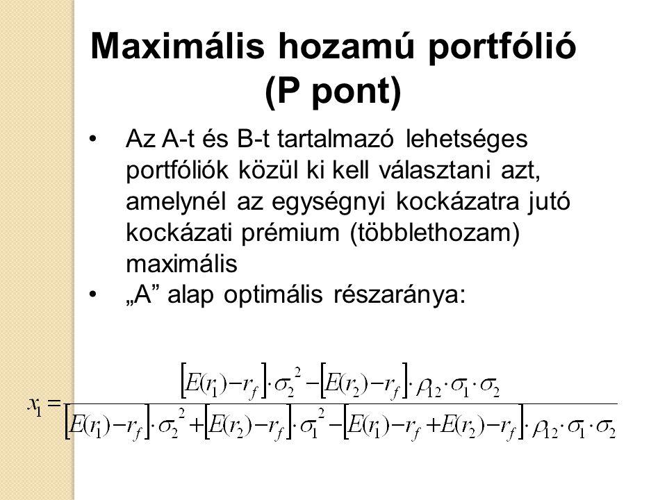 Maximális hozamú portfólió (P pont) Az A-t és B-t tartalmazó lehetséges portfóliók közül ki kell választani azt, amelynél az egységnyi kockázatra jutó