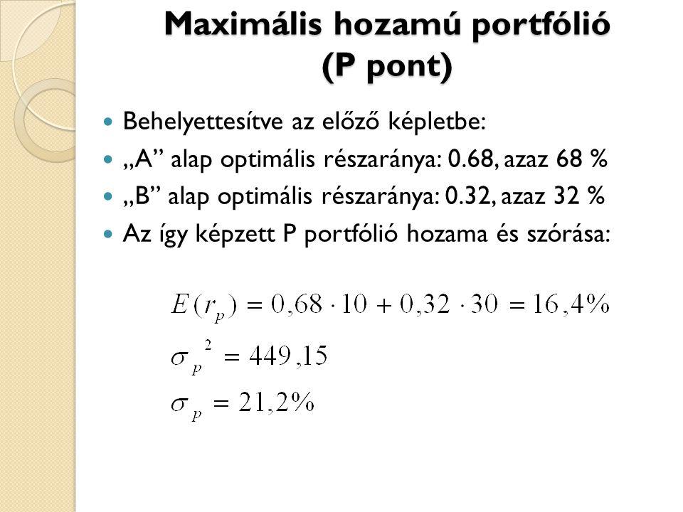"""Maximális hozamú portfólió (P pont) Behelyettesítve az előző képletbe: """"A"""" alap optimális részaránya: 0.68, azaz 68 % """"B"""" alap optimális részaránya: 0"""