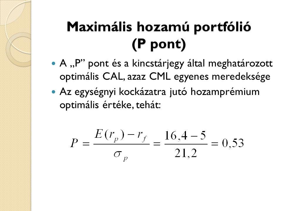 """Maximális hozamú portfólió (P pont) A """"P"""" pont és a kincstárjegy által meghatározott optimális CAL, azaz CML egyenes meredeksége Az egységnyi kockázat"""