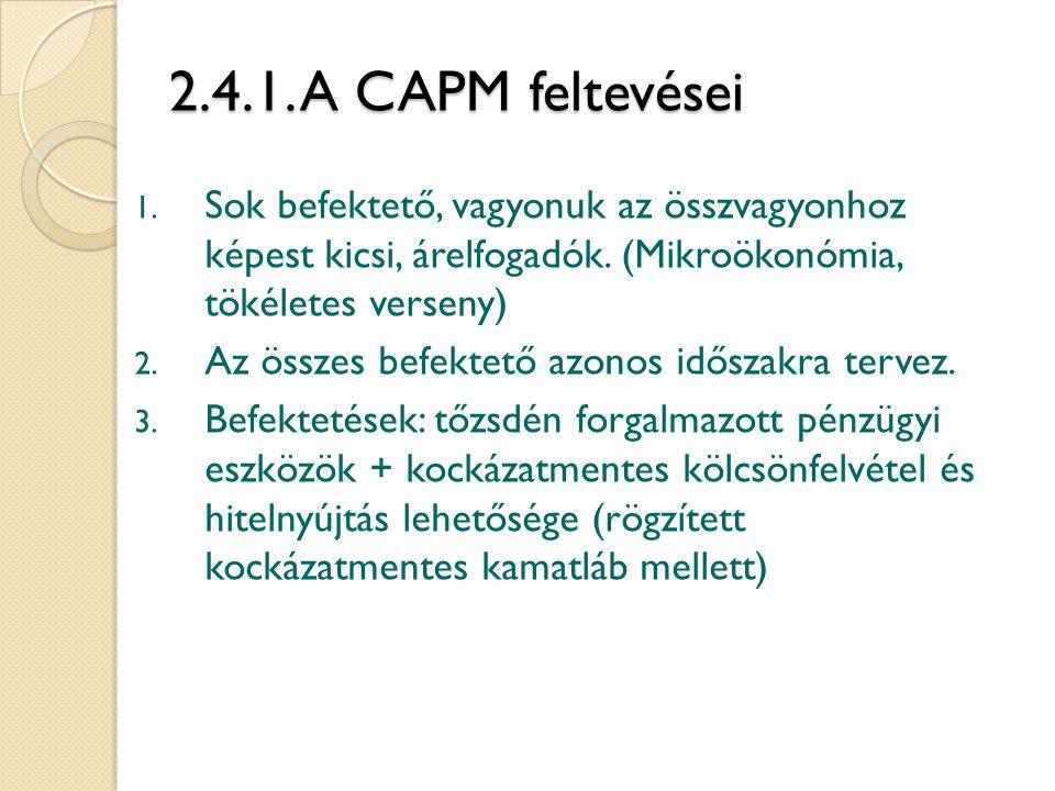 2.4.1. A CAPM feltevései 1. Sok befektető, vagyonuk az összvagyonhoz képest kicsi, árelfogadók. (Mikroökonómia, tökéletes verseny) 2. Az összes befekt