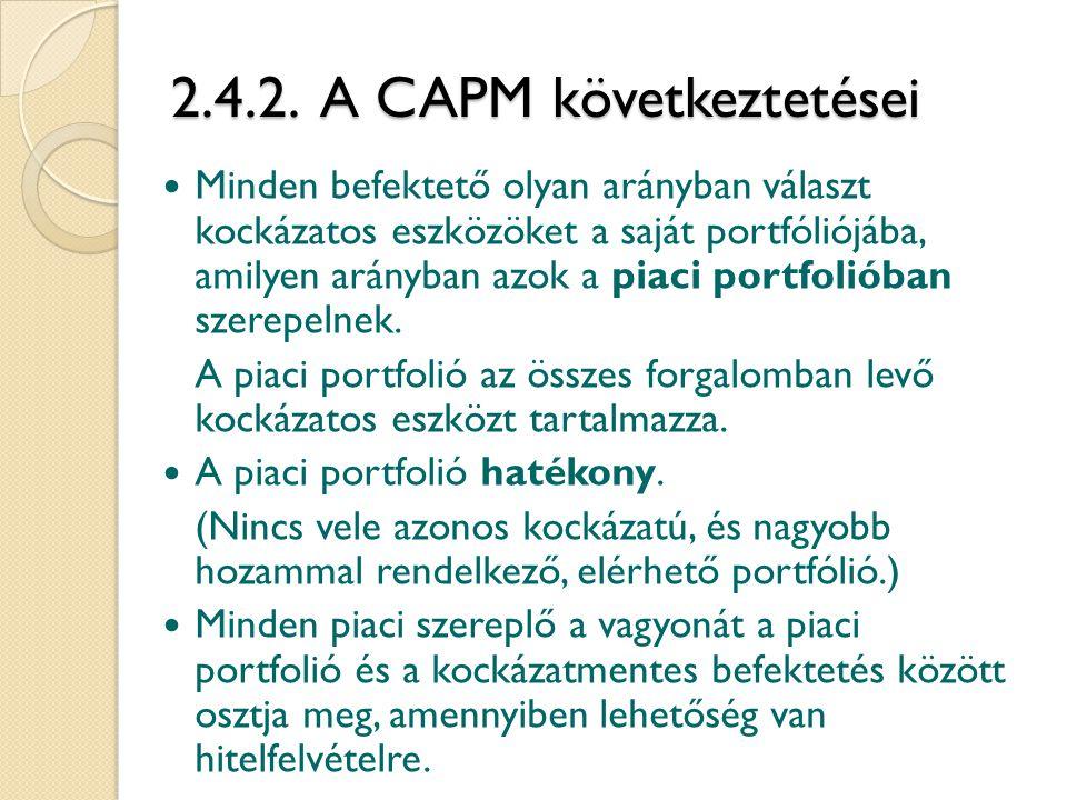 2.4.2. A CAPM következtetései Minden befektető olyan arányban választ kockázatos eszközöket a saját portfóliójába, amilyen arányban azok a piaci portf