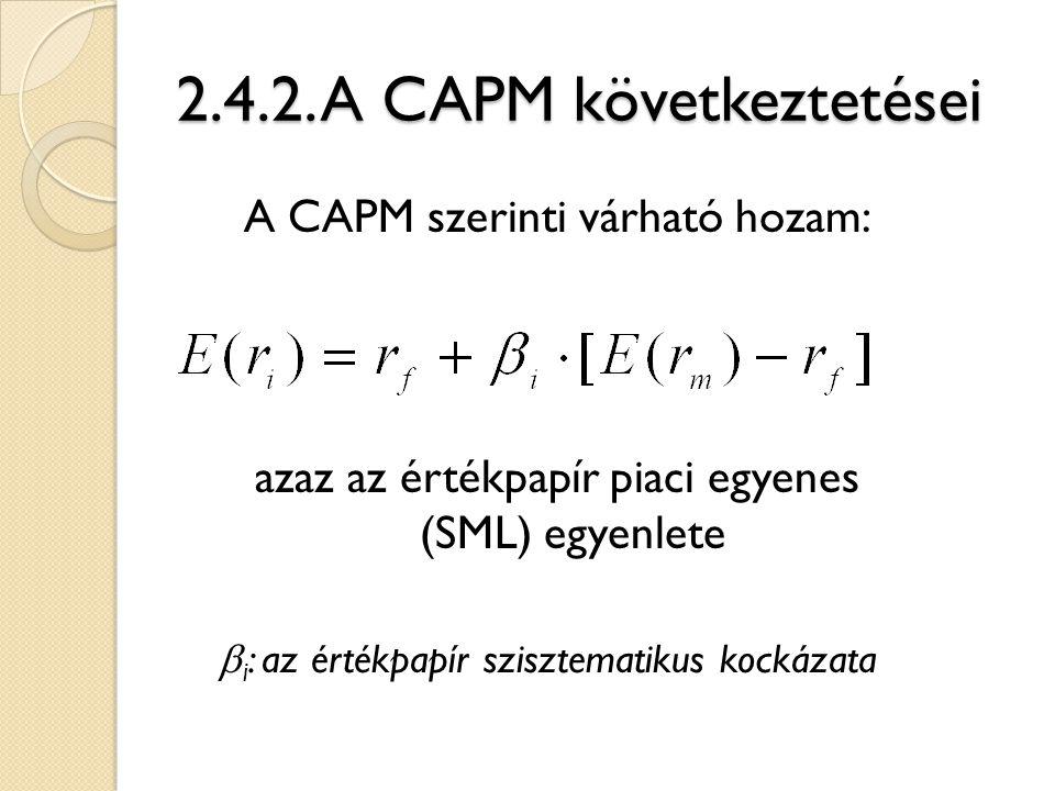 2.4.2. A CAPM következtetései A CAPM szerinti várható hozam: azaz az értékpapír piaci egyenes (SML) egyenlete  i : az értékpapír szisztematikus kocká