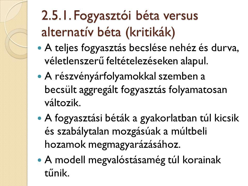2.5.1. Fogyasztói béta versus alternatív béta (kritikák) A teljes fogyasztás becslése nehéz és durva, véletlenszerű feltételezéseken alapul. A részvén