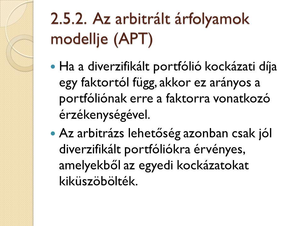 2.5.2. Az arbitrált árfolyamok modellje (APT) Ha a diverzifikált portfólió kockázati díja egy faktortól függ, akkor ez arányos a portfóliónak erre a f